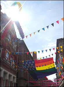 Colourful bunting lining the route of the festival parade