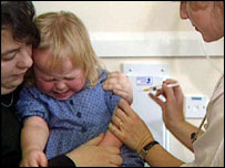 A child receiving a vaccination