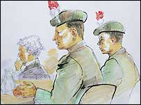 Sketch of Cpl Kenyon, centre, and L/Cpl Cooley, right, in the Osnabruck courtroom