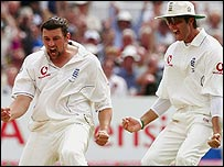Steve Harmison and Michael Vaughan celebrate a breakthrough