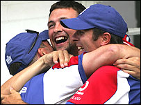 England players celebrate at Trent Bridge