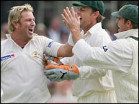 Shane Warne celebrates another wicket