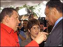 Venezuelan President Hugo Chavez and Jesse Jackson