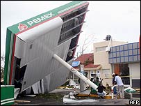 A petrol station destroyed by Hurricane Emily in July, 2005