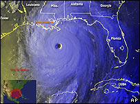 Imagen satelital del huracán Katrina tomada el domingo 28 de agosto a las 10.00 GMT
