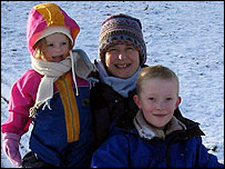 Vicky Faulkner with her children Fleur a Thomas