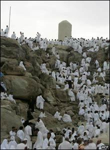 Pilgrims climb Mount Arafat as the culmination of their pilgrimage to Mecca