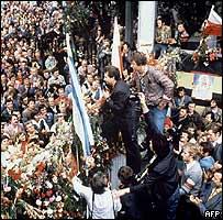 Митинг у ворот Гданьской верфи,  25 августа 1980 г.
