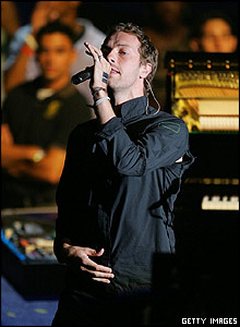 British band Coldplay were one of the performers on the night.