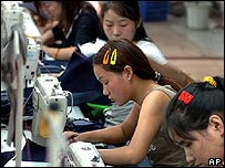 Seamstresses at a Chinese textile factory