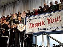 Colin Powell se despide de los empleados en el Departamento de Estado
