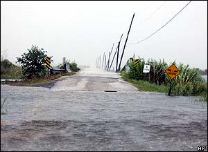 Flooded road beside Lake Pontchartrain