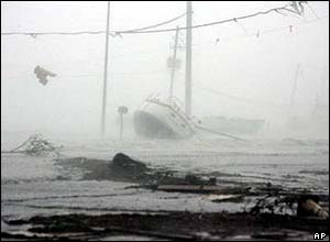 Stricken boat in Gulfport, Louisiana
