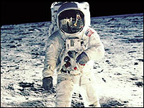 Neil Armstrong walking on the moon in 1969