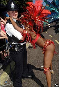 A carnival dancer with a policeman