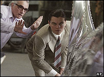 Martin Scorsese and Leonardo DiCaprio on the set of The Aviator