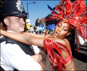 Police officer and carnival dancer