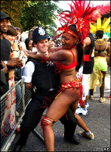 Policeman and samba dancer