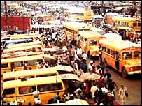 Yellow commercial buses in Lagos, Nigeria