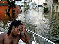 Man rescued from flooded neighbourhood, New Orleans