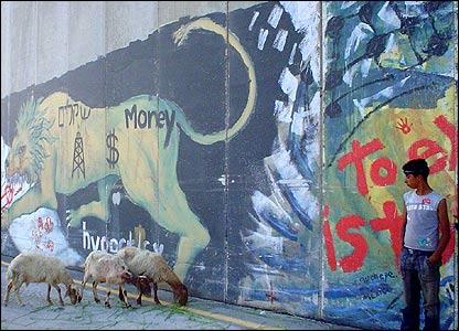 Росписи на стене в Вифлееме