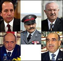 From top L clockwise: Jamil al-Sayyed, Ali al-Hajj, Raymond Azar, Nasser Qandil and Gen Mustafa Hamdan