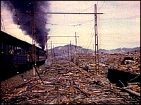 A train travels through devastated Hiroshima in 1945