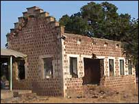 Bombed building in Rumbek, Sudan
