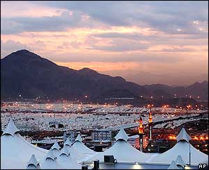 The sun rises over the tent city of Mina, outside Mecca, early on Thursday