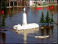 Lenin statue in floodwaters   AP