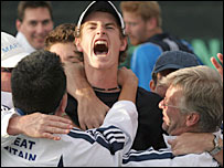 Andy Murray is mobbed after his Davis Cup debut
