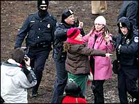 Protesters are arrested during the swearing-in ceremony for President Bush at the US Capitol in Washington.