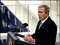 President Bush delivering his speech at the inauguration