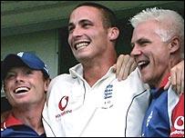 Jones (centre) celebrates England's victory