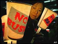 Anti-Bush protester in Tokyo, Japan