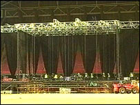 Stage in the Millennium Stadium in Cardiff