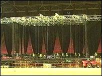 Stage in the Millennium Stadium in Cardiff