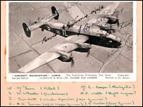 A photo of the Halifax bomber with the crew names