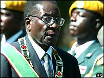President Robert Mugabe at the opening of Zimbabwe's parliament in June