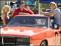 Jessica Simpson, Johnny Knoxville and Seann William Scott in The Dukes of Hazzard