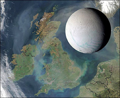 Comparison of size - Earth to Enceladus