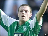 Ivan Sproule in action for Hibs
