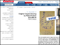 Image of CostCo website with Picasso listing