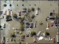 Houses submerged in water in New Orleans