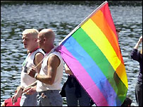 Gay men at festival in London's Hyde Park