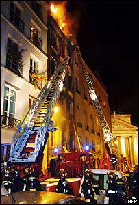 Fire fighters tackle the blaze in rue du Roi-Dore, Paris