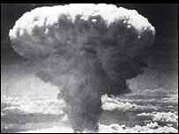 The mushroom cloud of an atomic bomb