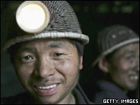 Miners in Chengdu, Sichuan Province, in May