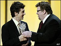 Alexander Payne with Michael Moore at Critics' Choice Awards