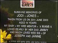 Jodi Jones' grave